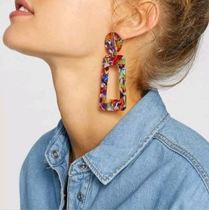 Multicolored geometric resin earrings